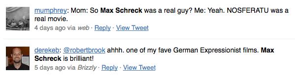 """Tweets zu """"Max Schreck"""", Juni 2010"""