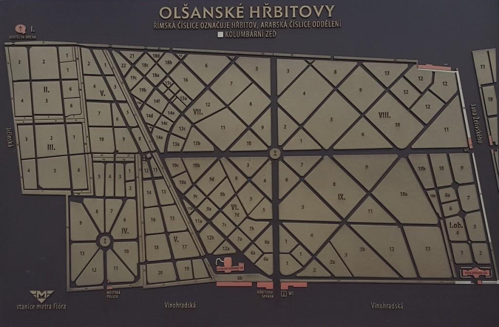 Friedhofsplan Olsany Prag