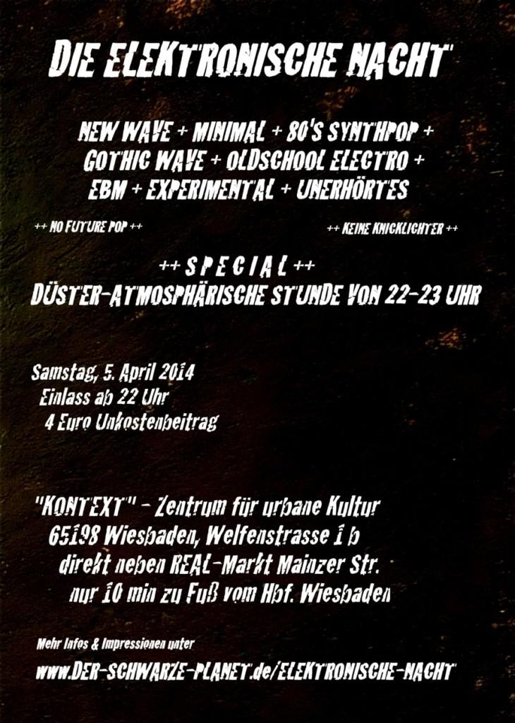 """Flyer """"Die Elektronische Nacht"""" 2014 - Back"""