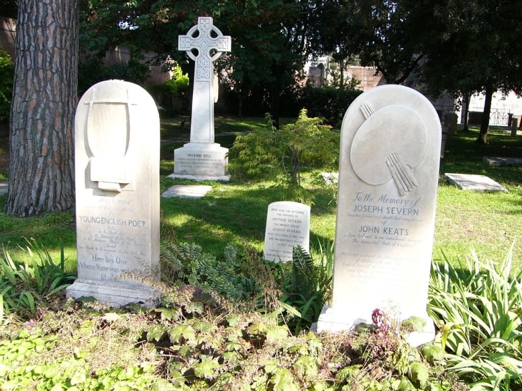 Das Grabmal von John Keats (links) und seinem Freund Joseph Severn