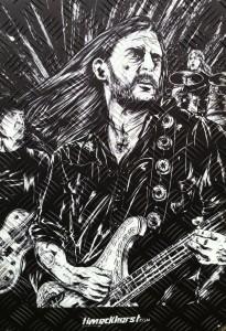 """Lemmy ohne Hut - gezeichnet von <a href=""""http://www.timeckhorst.com/"""">Tim Eckhorst</a> auf Metal(l)platte"""
