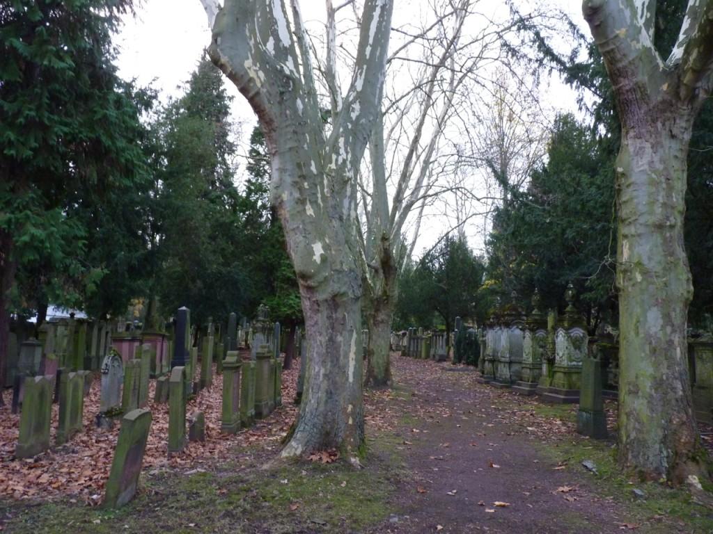 Rechts: die Gräberreihe der Rothschilds