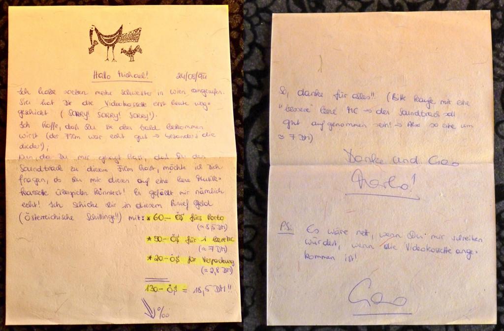 Sentimentales Erinnerungsstück an die Deutsch-Österreichische Freundschaft: Marko's Brief an meinen Freund