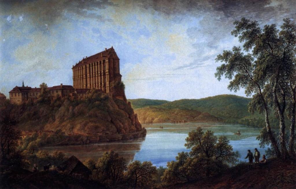 Schloss Plumlov - gezeichnet von Ferdinand Runk, 1825