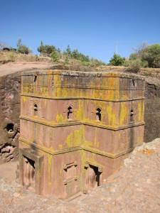Eine der faszinierenden Felsenkirchen von Lalibela / Äthiopien