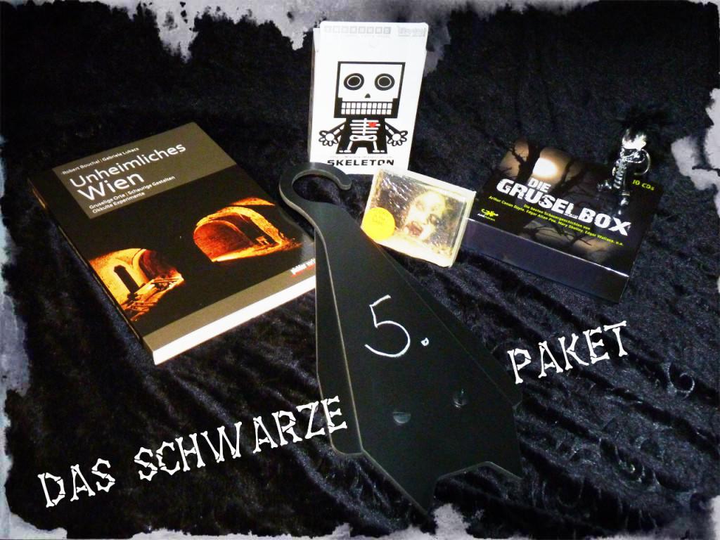 Das schwarze Paket zum 5. Planetengeburtstag hat 6 tolle, skurrile Innereien - eine/r gewinnt!