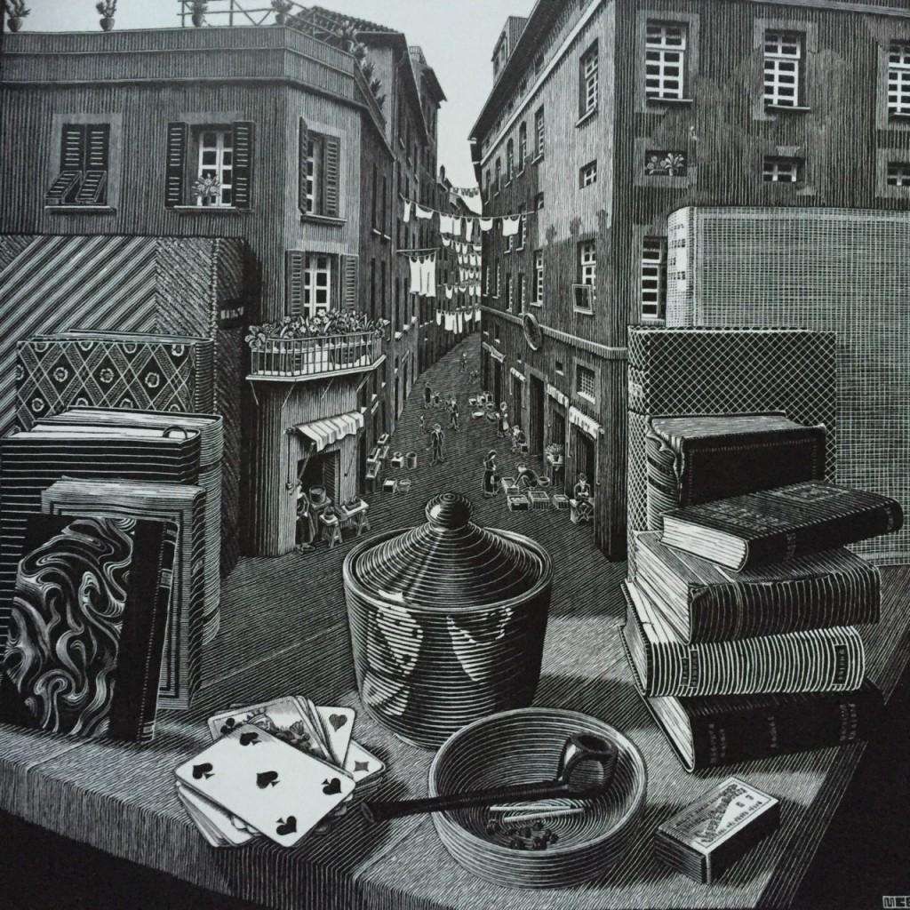 Stillleben und Straße, 1937, Holzschnitt - M.C. Escher