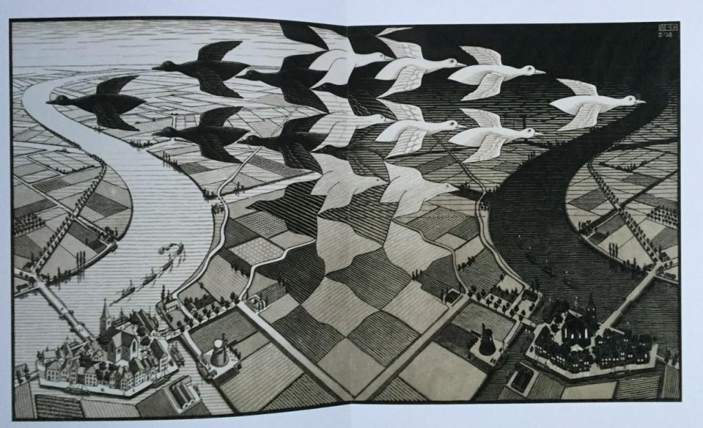 Tag und Nacht, 1938, Holzschnitt - M.C. Escher