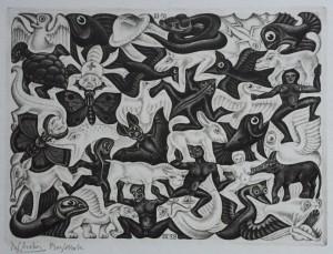 Wie viele Wesen erkennst Du? - Flächenfüllung I, 1951, Mezzotinto - M.C. Escher