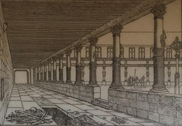 Blick vom West-Flügel auf den Nord-Flügel im Aître Saint-Maclou // Gravierung von E.H. Langlois